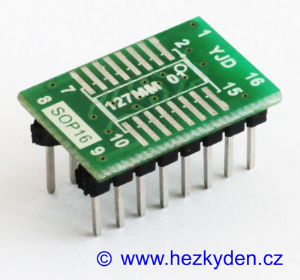 SMD adapter SOP16 do DIL16 jumpery