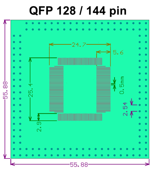 SMT adapter QFP128 QFP144 - rozměry