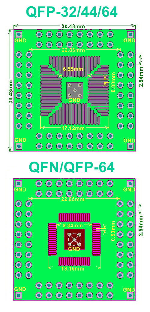 SMT adapter QFP QFN 32/44/64 pin