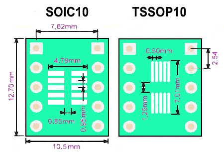 SMT adapter SO10 SOIC10 TSSOP10