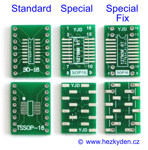 Detail SMD adaptérů SO-16