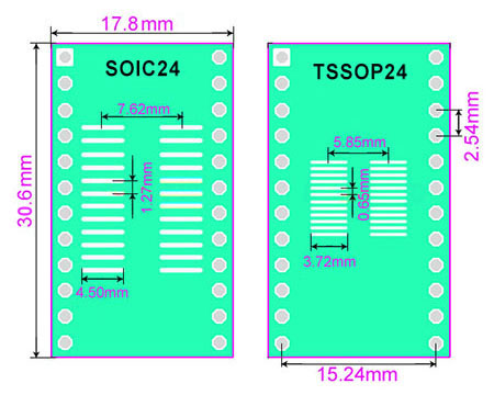 SMT adapter SO24 SOIC24 TSSOP24