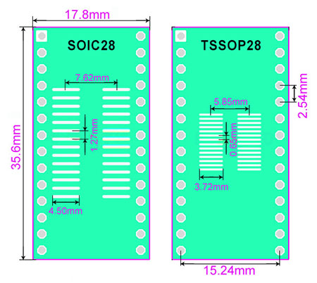 SMT adapter SO28 SOIC28 TSSOP28