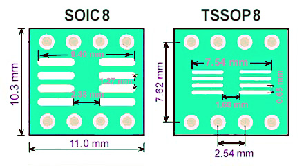 SMT adapter SO8 SOIC8 TSSOP8