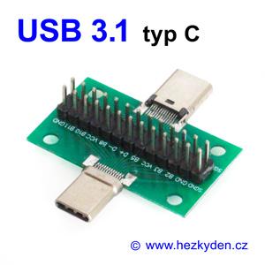 Adapter USB 3.1 typ C konektor vidlice zásuvka komplet