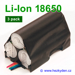 Aku 3-pack Li-Ion 18650 Panasonic