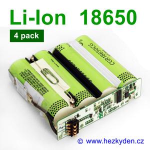 Aku 4-pack Li-Ion 18650 Panasonic CGR18650CG
