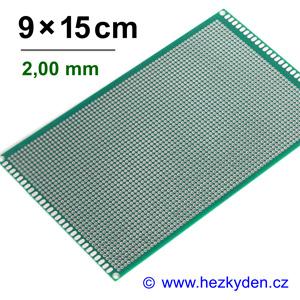 Bastldeska univerzální plošný spoj 9x15cm PROFI oboustranná - rozteč 2,00 mm