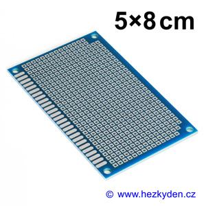Bastldeska univerzální plošný spoj 5x8cm profi jednostranná FR4 modrá