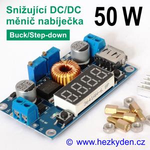 DC-DC měnič nabíječka DVM4015 s voltmetrem