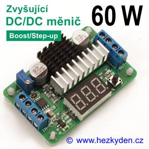 DC-DC měnič LTC1871 zvyšující 60W s voltmetrem
