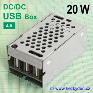 DC-DC měnič 3× USB Box 4A 20W