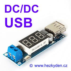 DC/DC snižující měnIč USB DVM1509 svoltmetrem