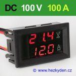 Panelový digitální voltmetr ampérmetr 100V 100A DC red