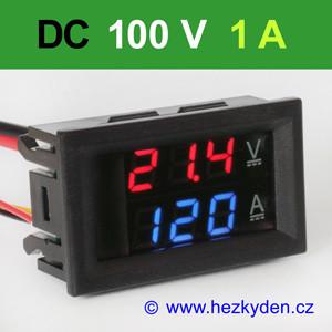 Panelový digitální voltmetr ampérmetr 100V 1A DC