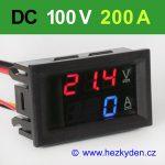 Panelový digitální voltmetr ampérmetr 100V 200A DC