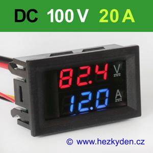 Panelový digitální voltmetr ampérmetr 100V 20A DC