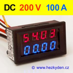 Panelový digitální voltmetr ampérmetr 200V 100A DC