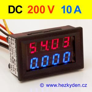 Panelový digitální voltmetr ampérmetr 200V 10A DC