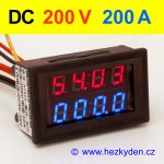 Panelový digitální voltmetr ampérmetr 200V 200A DC