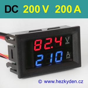 Panelový digitální voltmetr ampérmetr 200V 200A DC 3 místa