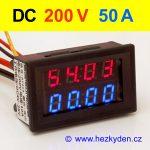 Panelový digitální voltmetr ampérmetr 200V 50A DC