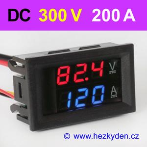 Panelový digitální voltmetr ampérmetr 300V 200A DC