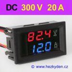 Panelový digitální voltmetr ampérmetr 300V 20A DC
