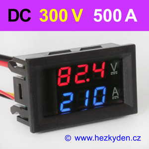 Panelový digitální voltmetr ampérmetr 300V 500A DC