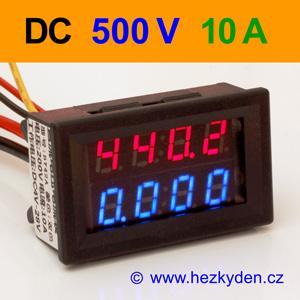 Panelový digitální voltmetr ampérmetr 500V 10A DC
