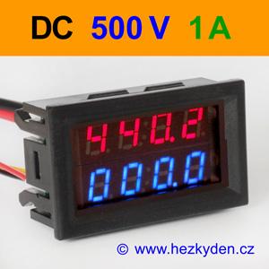 Panelový digitální voltmetr ampérmetr 500V 1A DC