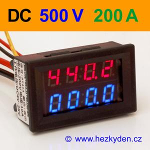 Panelový digitální voltmetr ampérmetr 500V 200A DC