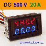 Panelový digitální voltmetr ampérmetr 500V 20A DC