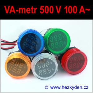 Digitální voltmetr ampérmetr LED kontrolka KOMBI AC