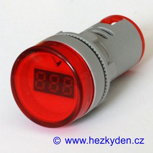 Digitální voltmetr LED kontrolka 500V AC červený