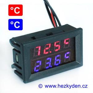 Dvojitý panelový LED teploměr C červeno-modrá