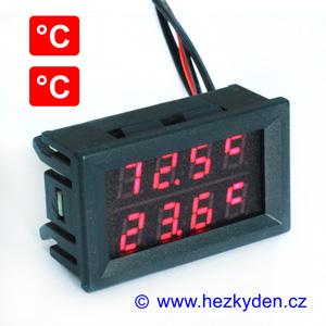 Dvojitý panelový LED teploměr C červeno-červená