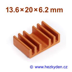 Hliníkový chladič samolepicí 13.6x20x6.2mm