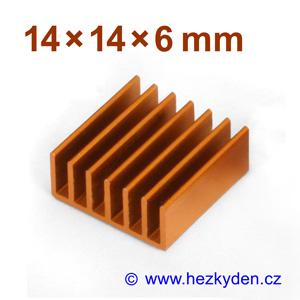 Hliníkový chladič samolepicí 14x14mm
