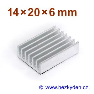 Hliníkový chladič samolepicí 14x20x6mm