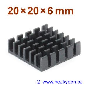 Hliníkový chladič samolepicí 20x20x6mm