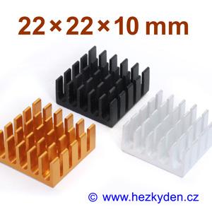 Hliníkový chladič samolepicí 22x22x10mm