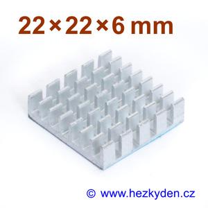 Hliníkový chladič samolepicí 22x22x6mm