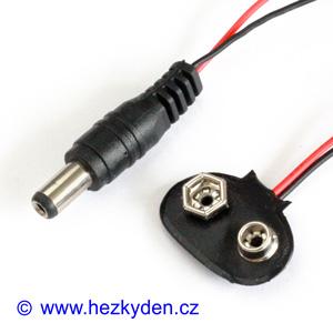 Klips pro baterii 9V s napájecím konektorem