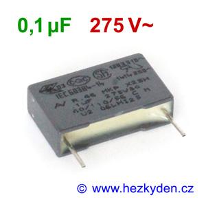Fóliový kondenzátor 100nF 275Vac
