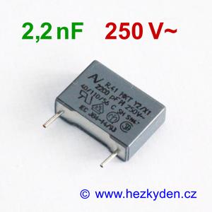 Fóliový kondenzátor 2,2nF 250Vac MKT