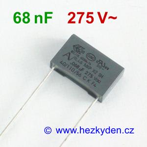 Fóliový kondenzátor 68nF 275Vac MKP
