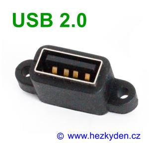 Konektor USB 2.0 typ A zásuvka na panel do DPS