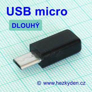 Konektor USB micro na kabel - dlouhý typ