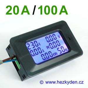 LCD panelový wattmetr měřič spotřeby 230 V AC